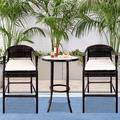 Outdoor Bar Stools Set of 3, BTMWAY PE Wicker High Bar Stools Patio Conversation Set, Outdoor Rattan Bar Chairs Set, Counter Height Backyard Porch Deck Chairs Set, w/Side Table, Beige, A2743