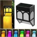 Solar Fence Lights Set Of 6 Solar Powered Post Deck Cap Square Light Lamp Sunlight Color Changing Outdoor Wall Mount LED Lights 2 Modes for House Yard Garden Patio