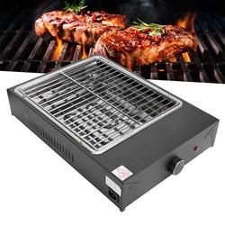 Brrnoo Electric Grill 18''x13'' Nonstick BBQ Countertop Grill Cooking Barbecue Tool Smokless Household Stainless Steel Electric Grill w/ Removable Drip Tray