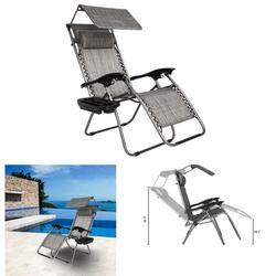 Multifunction Zero Gravity Lounge Chair with Awning Leisure Chair Comfortable Safe Recliner for Living Room,Garden,Beach Holiday GRAY