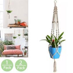 2/1 Pack Macrame Plant Hangers, Hanging Holder for Plant,Indoor Outdoor Wall Hanging Planter Basket Decorative Flower Planter Plant Holder - Pot Holder-- Modern Boho Home Decor