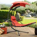 Walnew Outdoor Hanging And Swinging Lounge Chair Patio Hammock Lounge Chaise Chair With Free Standing Floating Bed Furniture (Orange)
