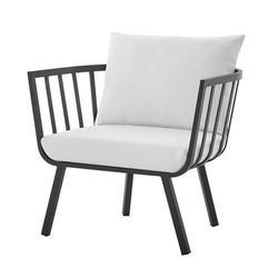 Contemporary Modern Urban Designer Outdoor Patio Balcony Garden Furniture Armchair Lounge Chair, Aluminum Fabric, Grey Gray White