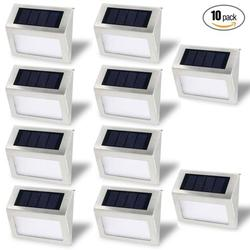 Solar Stair Light, EpicGadget Waterproof Outdoor LED Step Lighting 3 LED Solar Powered Step Lights Stainless Steel Outdoor Lighting for Steps Paths Patio Stairs (Pack 10)