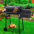Outdoor Charcoal Grill and Smoker, Charcoal Barbecue Grill with Large Cooking Surface, Oil Drum Charcoal Furnace and Offset Smoker Combo with Wheels, for Camping Garden Backyard Cooking Picnic, K3768