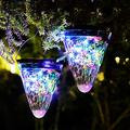 2 Pack Solar Lanterns Lights Outdoor Hanging 50 LEDs,Conical Design Solar Table Lantern Lamps,Waterproof Decorative Solar Lanterns for Patio Backyard Garden Pathway Halloween Christmas Deck-Colorful