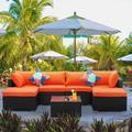 Ainfox 7 Piece Outdoor Patio Furniture Sofa Set Wicker Sectional Rattan Conversation Set with Cushion and Glass Table(Orange)