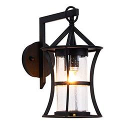 Small Outdoor Wall Light Fixtures Modern Exterior Wall Lantern Waterproof IP65, Black Finish with Seeded Glass Outdoor Wall Sconce for Outside Garage Driveway Patio Porch Lighting, Black