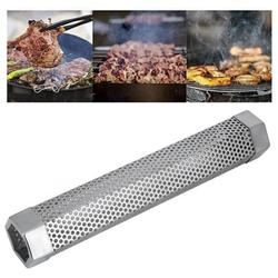 Tebru Grill Smoker Tube,BBQ Smoker Tube,Portable 12in Stainless Steel BBQ Smoker Tube Barbecue Accessory for Electric Gas Charcoal Grill Smokers