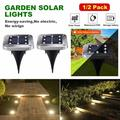 2Pcs 8LED Garden Solar Lights For Outdoor Pathway Bright Light for Walkway Patio Path Lawn Garden Yard Decoration Waterproof Seal Large Landscape Outside Post Lighting Lamps,white