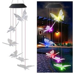 2 PCS Solar Wind Chime Outdoor,Wind Chime, Color Changing LED Mobile Butterfly Wind Chimes,Outdoor Romantic Decorative,6 Butterfly String Lights,for Home/Yard/Patio/Garden