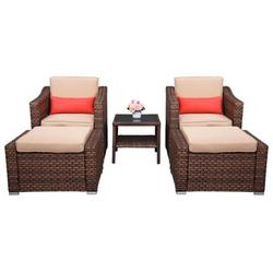 Wicker Patio Sets, 5 Piece Outdoor Lounge Chair Chat Conversation Set with 2 Cushioned Chairs, 2 Ottoman, Glass Coffee Table, PE Wicker Rattan Patio Furniture Set for Backyard, Porch, Garden, LLL339