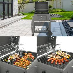 enyopro Portable Charcoal Grill, Advanced BBQ Charcoal Grill for Lawn Picnic Backyard Balcony Outdoor Cooking with Wheels, Thermometer & Side Shelf, High-Temperature Grill Oven (0-700°F), B1003