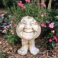 Antique Naughty Faces Outdoor Statue Planter, Grumpy/Joyful Face Plant Pot Garden Sculpture, HTOCINQ Resin Planter Figurines Ornament, Funny Faces Flower Pot for Patio Lawn Yard Decoration