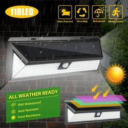 TSV Solar Lights Outdoor, 118 LED Solar Motion Sensor Lights, IP65 Waterproof Wireless Wall Light, 3 Lighting Modes, 270° Lighting Angle, for Outdoor Garden, Patio, Yard, Deck, Garage, Driveway, Fence