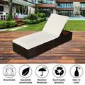 Outdoor Patio Chaise Lounge Chair, Adjustable Pool Rattan Chaise Lounge Chair