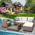 Patio Furniture Sets, 4-Piece Outdoor Sectional Sofa Set with Loveseat and Lounge Sofa, Armchair, Coffee Table, All-Weather Wicker Furniture Conversation Set for Backyard Garden Pool, Q16385