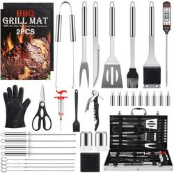 Grill Set BBQ Tools Grilling Tools Set Gifts for Men, 34PCS Stainless Steel Grill Accessories with Aluminum Case,Thermometer, Grill Mats for Camping/Backyard Barbecue,Grill Utensils Set for Dad