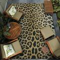 Couristan 5' x 8' Gold Animal Print Dolce Amur Leopard New Outdoor Rug