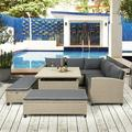 Patio Conversation Sets, 6 Seating Wicker Outdoor Sectional Sofa Set, 2Double Sofa, Corner Sofa, 2Benches&Table, Rattan Bistro Patio Set for Backyard Porch Pool Garden Lawn, Natural, W11191