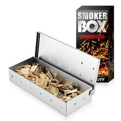 Latauar Smoker Box for BBQ Grill Wood Chips, Top Meat Smokers Box in Barbecue Grilling Accessories - 25% Thicker Stainless Steel Won't WARP - Barbecue Meat Smoking for Charcoal and Gas Grills.