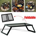 Heavy-Duty Camp Over-fire Grill Foldable Campfire Grill Grate Outdoor Barbecue Cooking Rack Accessories - 19.69'' x 11.81''