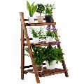 Topeakmart 3 Tier Folding Wooden Plant Stand Wood Organizer Flower Pot Stand Plant Display Shelf Rack Ladder Garden Indoors Outdoors