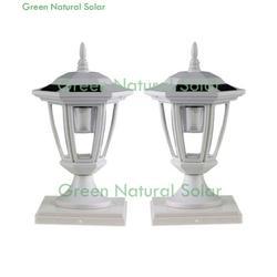 2-Pack WHITE Solar Hexagon Post Cap Lights with WHITE LEDS for 5X5 Fence Post- GREEN NATURAL SOLAR, SOLAR LIGHT By Atlantic Solars