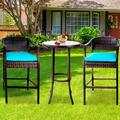 3 Piece Patio High Bistro Set, 2 High Bar Chairs with 1 Glass Top Table, PE Rattan Outdoor Bar Stools Set, Conversation Set with Cushions for Balcony Deck Poolside Backyard Porch, B09