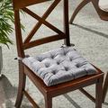 """Noble House Nishtha 16"""" Tufted Velvet Dining Chair Cushion, Smoke"""