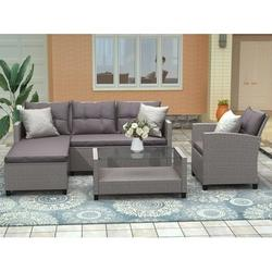 4 Piece Patio Sectional Sofa Set with Loveseat Sofa, Lounge Chair, Wicker Chair, Coffee Table, All-Weather Outdoor Conversation Set with Cushions for Backyard, Porch, Garden, Poolside,L4982