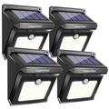 LED Solar Wall Light, New solar lights 100 Leds upgraded, 3 Working Mode, IP65 Waterproof, Easy-to-Install Security Lights for Front Door, Yard, Garage, Deck(1/2/4 pack)