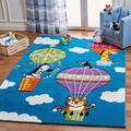 "Safavieh Carousel Kids Collection CRK118M Animal Hot Air Balloon Area Rug, 5 3"" x 7 6"", Blue/Green"