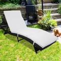 UHOMEPRO Outdoor Chaise Lounges, Rattan Chaise Lounge Chairs with Cushion, Adjustable Back Patio Chaise Lounge, Folded Legs Lounge Chairs, Backyard, Pool, Balcony Recliner, S Style, Black, W9213
