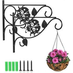 Sturdy Hanging Plant Bracket Iron Plant Hooks for Wall, 2 Pack 12.9 Inch Wall Plant Hangers Outdoor for Hanging Bird Feeders Lanterns Wind Chimes Flower Baskets