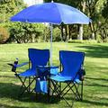 New Arrival Double Folding Camp and Beach Chair with Removable Umbrella and Cooler