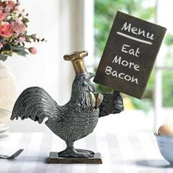 """Ebros Rooster with Chef Hat Holding A Menu Board Statue 13.5"""" Tall Countertop"""