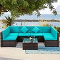 Rattan Wicker Patio Furniture, 7 Piece Patio Furniture Sofa Sets, 6 Rattan Wicker Chairs and Glass Table, All-Weather Patio Conversation Set with Cushions for Backyard, Porch, Garden, Poolside, LLL852