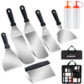 Overmont Grill Griddle Accessories Set, 8-Pieces Outdoor Heavy Duty Flat Top Grilling Tool Kit in Carrying Bag – Great for Indoor-Outdoor BBQ, Camping, Teppanyaki