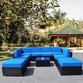 Mcombo Patio Furniture Sectional Set Outdoor Wicker Sofa Lawn Garden Rattan Conversation Chair with 6 Inch Cushions and Tea Table(Blue)6082-9PC