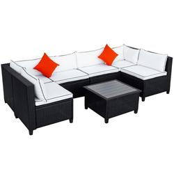 7 Pieces Patio Conversation Sofa Set, Low Back Outdoor Patio Furniture Set, PE Rattan Sectional Sofa with Tea Table & Couch Cushions, Garden Poolside Backyard Porch Outdoor Wicker Sofa Set, JA1842