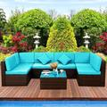 7 Pieces Outdoor Wicker Patio Sets, SEGMART 7 Pieces Outdoor Wicker Patio Furniture Set with 2 Corner Sofa, Tempered Glass Table, 4 Single Sofa, 12 Padded Cushions, 2 Pillows, Blue, S7224