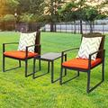 Outdoor 3-Piece Conversation Black Wicker Furniture-Two Chairs with Glass Coffee Table Orange