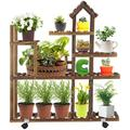 Tall Plant Stand with Wheels, 5 Tier Wood Home Shape Flower Shelves Indoor Outdoor Planter Rack for Patio Garden Corner Balcony Living Room