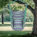Hanging Rope Hammock Chair Swing Seat for Any Indoor or Outdoor Spaces, Portable Garden Hammock Chair for Kids, Unique Hammock Hanging Chair with Two Soft Pillows, Durable Spreader Bar, Green, Q9311