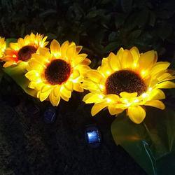Garden Solar Lights, Outdoor Decorative Sunflower, Decor Solar Pathway Lights, Outdoor LED Solar Garden Lights, Waterproof Solar Landscape Lights, 2 Pack