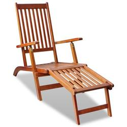 Outdoor Deck Chair Foldable Patio Deck Garden Rest Lounge Chairs Footrest Reclining Lounger