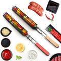 GETFIT Portable Stainless Steel Hot Dog Grill Baskets with Wooden Handle, Perfect BBQ Grilling Cookware for Indoor and Outdoor Cooking