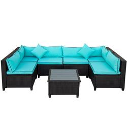 7-Piece Patio Furniture Sets on Sale, SEGMART 7-Piece Wicker Patio Conversation Furniture Set w/ Seat Cushions & Polywood Coffee Table, Wicker Sofa Sets for Porch Poolside Backyard Garden, S9098