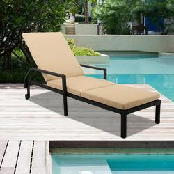 Patio Rattan Lounge Chair Chaise Recliner, Outdoor Patio Furniture Set for Poolside Garden Beach, Reclining Rattan Lounge Chair Chaise Couch Cushioned with Adjustable Back, 2 Wheels, 1PC, Q17036